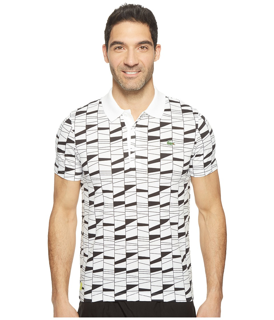 Lacoste - T2 All Over Pattern Super Light Polo (White/Black/Lemon Tree) Men's Clothing