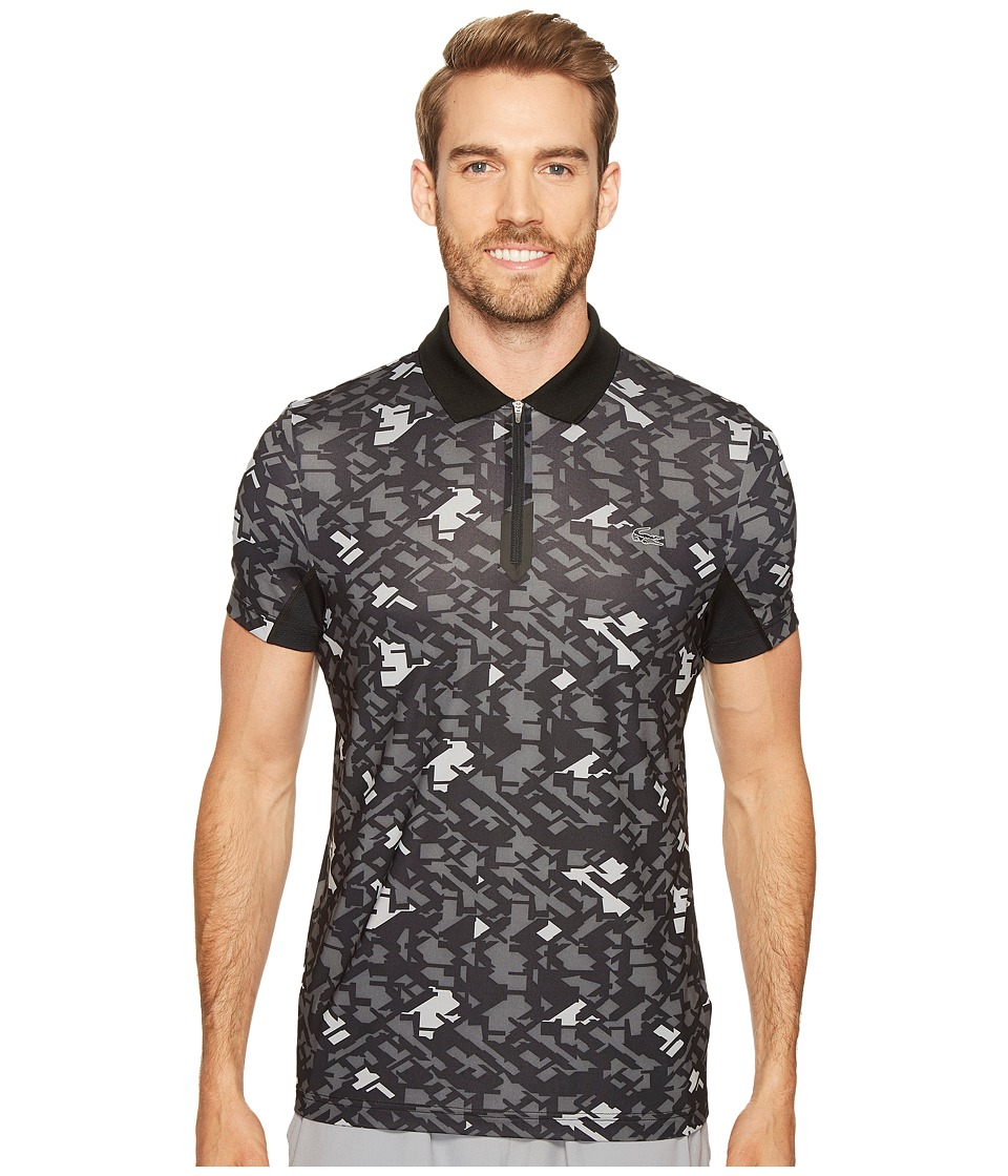 Lacoste - Performance Ultra Dry Stretch All Over Pattern Polo (Black/Charcoal Grey) Men's Clothing
