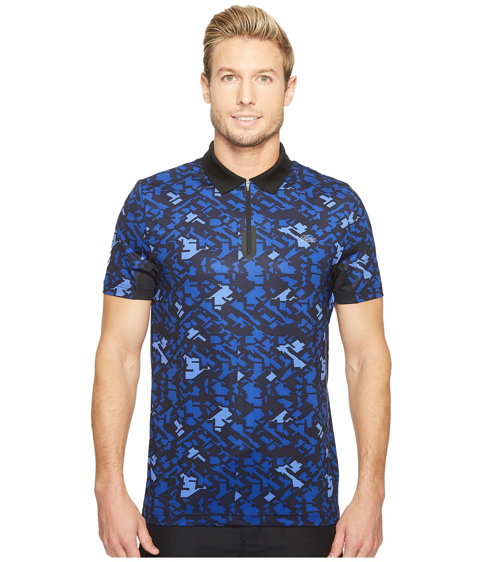 Lacoste - Performance Ultra Dry Stretch All Over Pattern Polo (Black/France) Men's Clothing