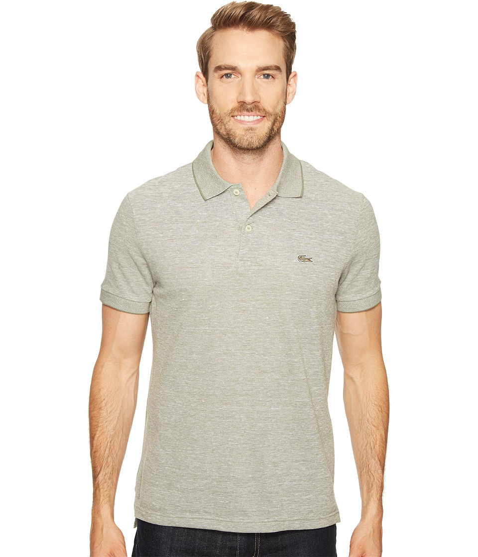 Lacoste - Father's Day Linen/Cotton Birds Eye Jaspe Effect Pique Polo (Army/Flour) Men's Clothing