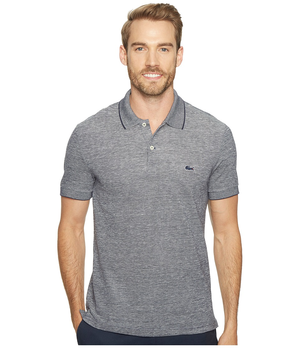 Lacoste - Father's Day Linen/Cotton Birds Eye Jaspe Effect Pique Polo (Navy Blue/Flour) Men's Clothing