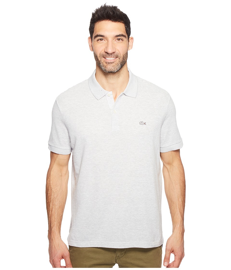 Lacoste - Father's Day Linen/Cotton Birds Eye Jaspe Effect Pique Polo (Silver Chine/Flour) Men's Clothing