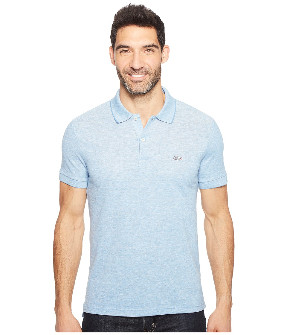 Lacoste - Father's Day Linen/Cotton Birds Eye Jaspe Effect Pique Polo (Horizon Blue Chine/Flour) Men's Clothing