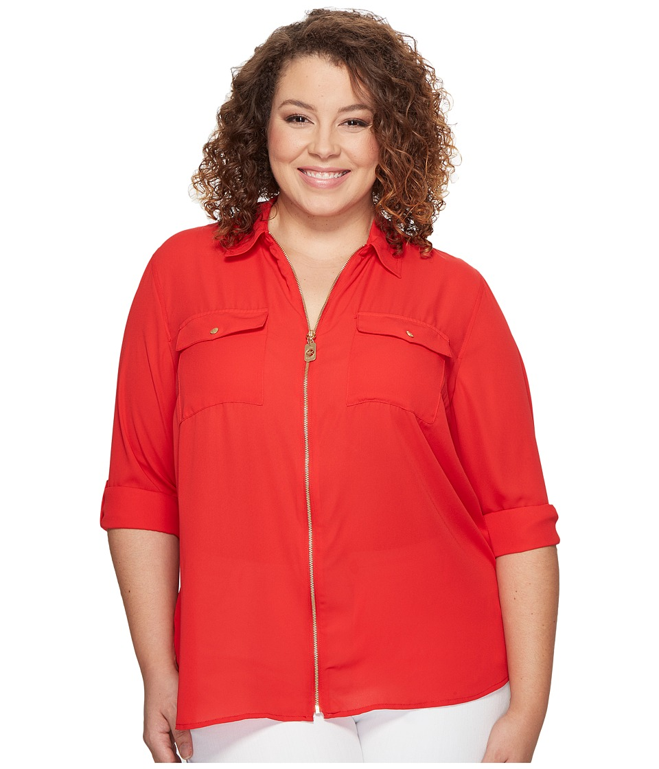 MICHAEL Michael Kors - Plus Size Dog Tag Zip Top (True Red) Women's Clothing