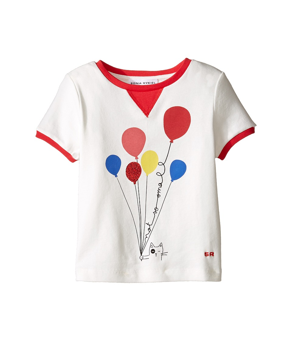 Sonia Rykiel Kids - Short Sleeve Balloon Graphic T-Shirt w/ Contrast Trim (Toddler/Little Kids) (Off-White) Girl's T Shirt