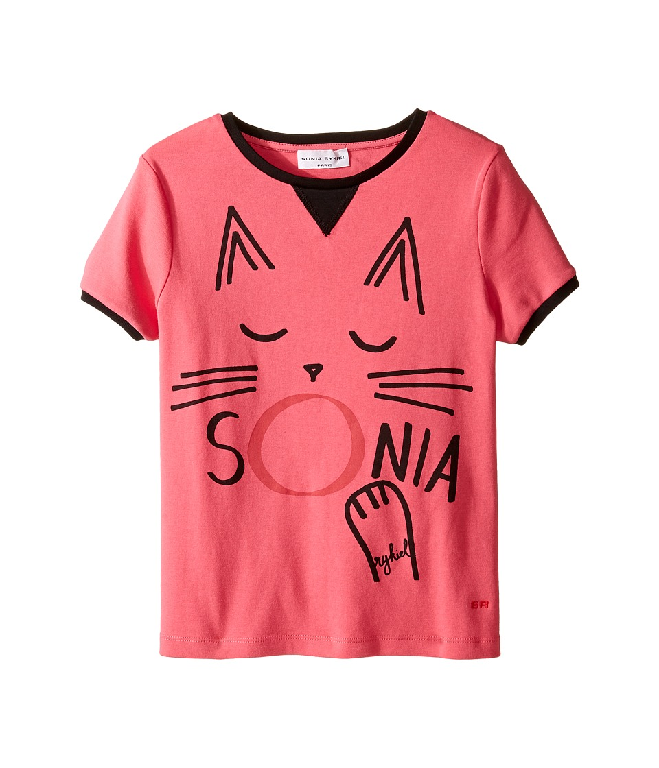 Sonia Rykiel Kids - Short Sleeve Cat Graphic T-Shirt (Big Kids) (Fuchsia) Girl's T Shirt