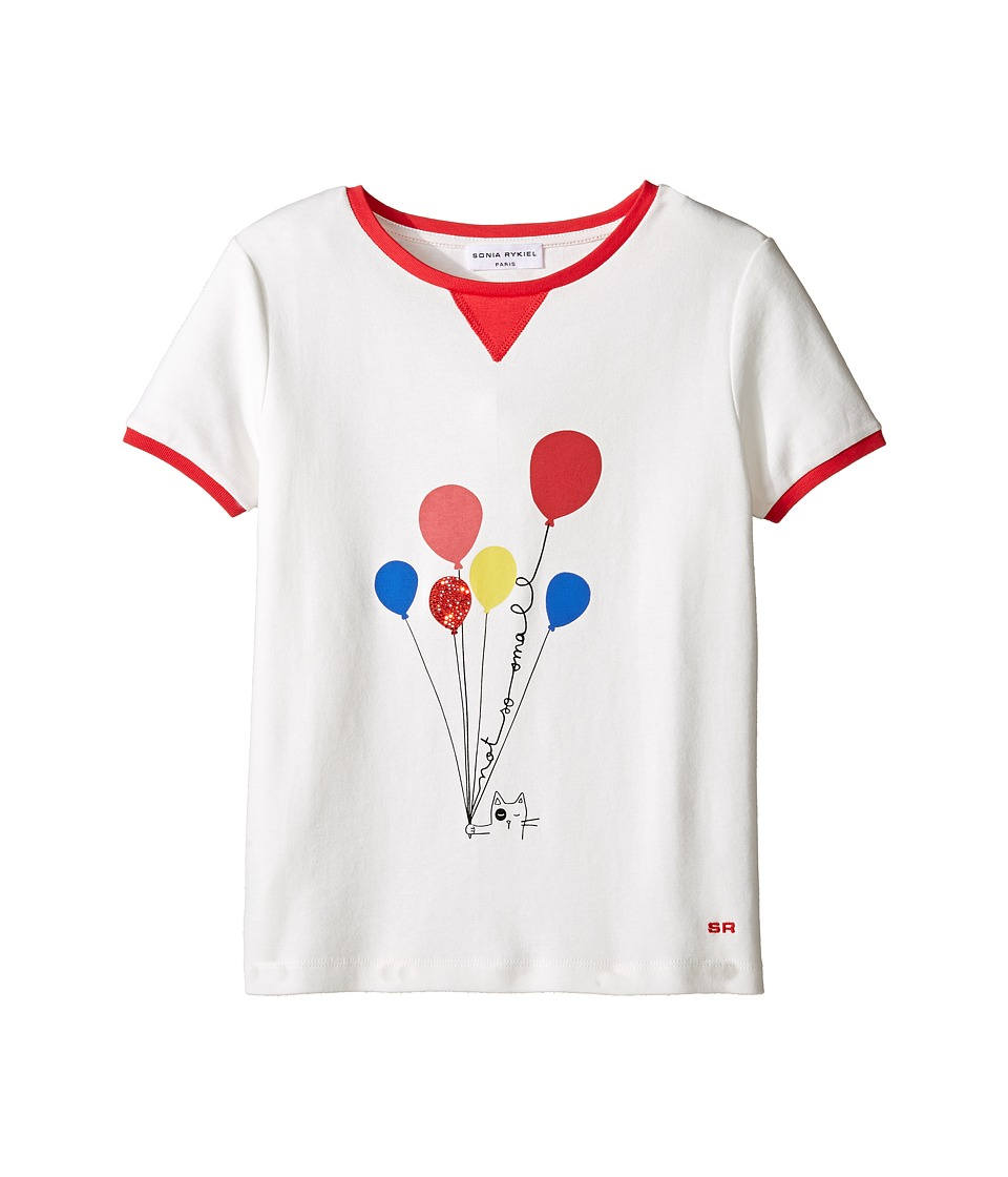Sonia Rykiel Kids - Short Sleeve Balloon Graphic T-Shirt w/ Contrast Trim (Big Kids) (Off-White) Girl's T Shirt