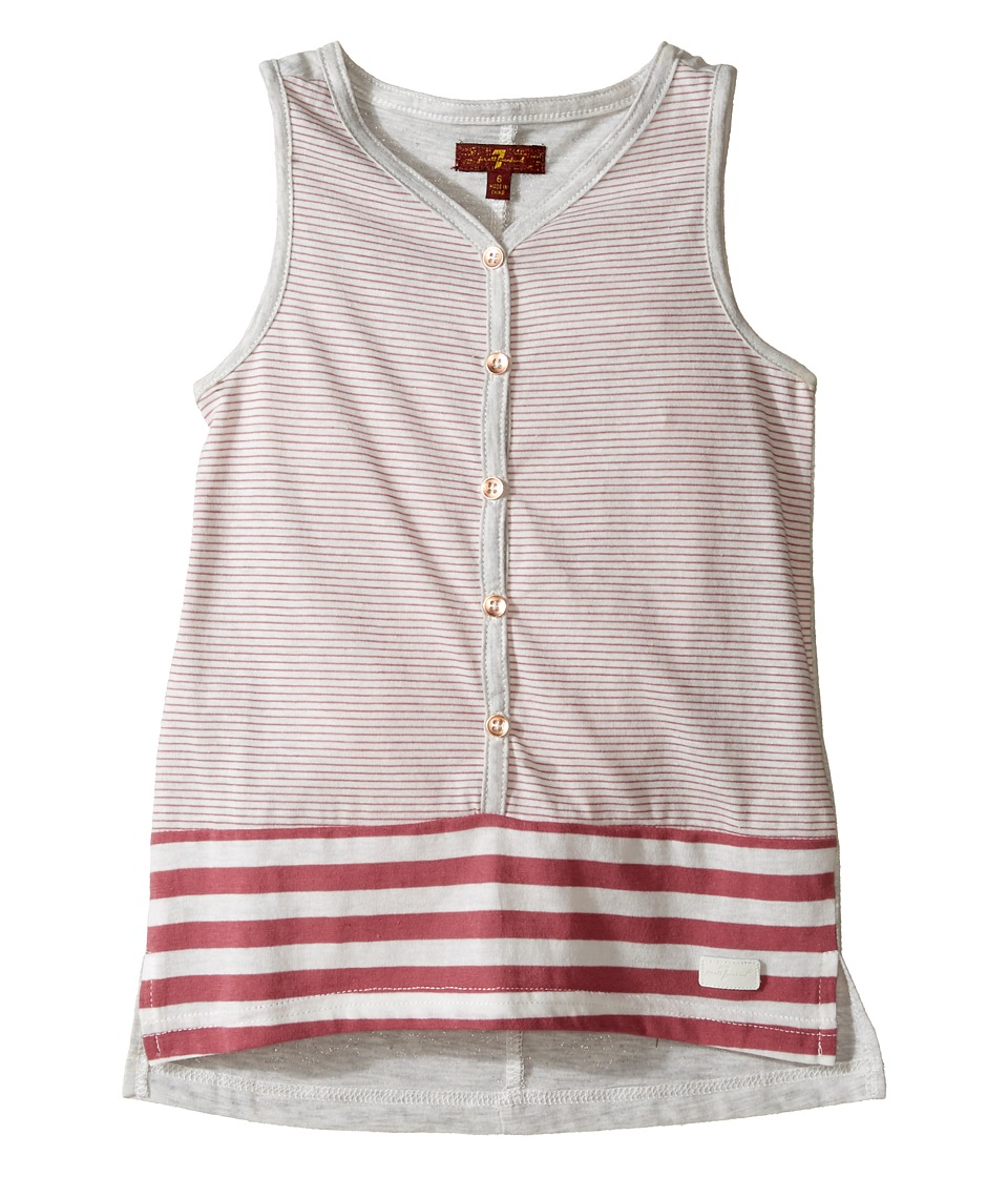7 For All Mankind Kids - Tank Top (Little Kids) (Rosewine Stripe) Girl's Sleeveless