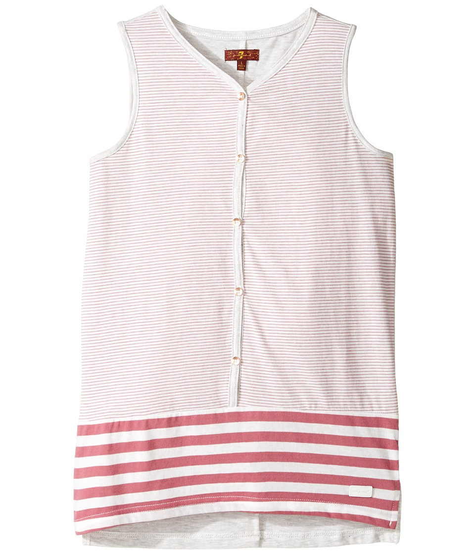 7 For All Mankind Kids - Tank Top (Big Kids) (Rosewine Stripe) Girl's Sleeveless