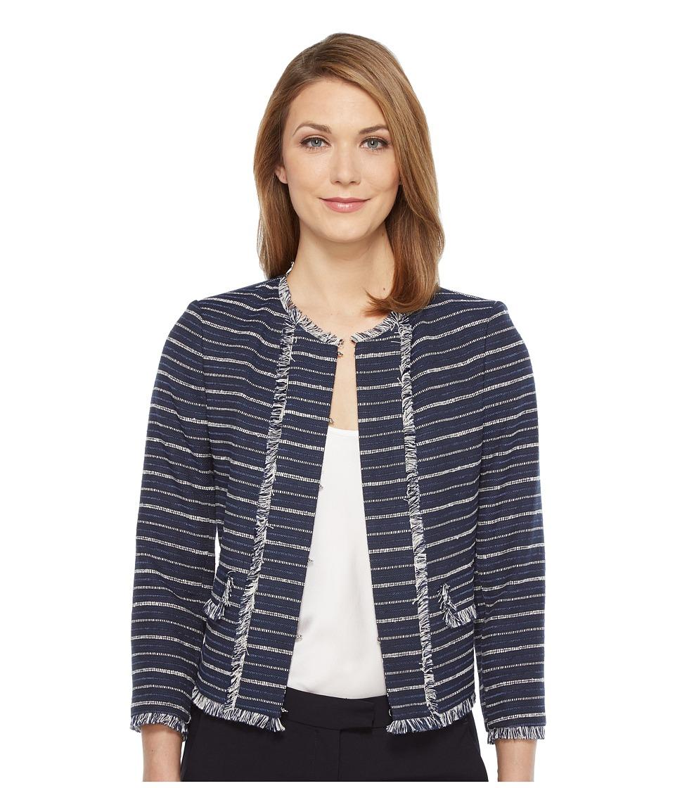 Ivanka Trump - Tweed Jacket (Blue/Ivory) Women's Coat