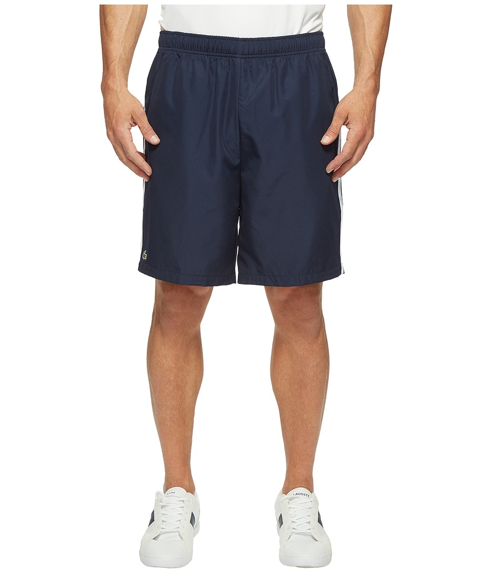 Lacoste - Sport Taffeta w/ Stripe on Side Shorts (Navy Blue/White/Etna Red) Men's Shorts
