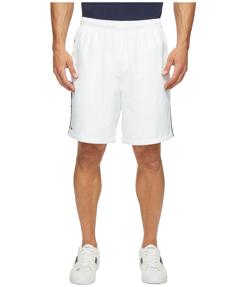 Lacoste - Sport Taffeta w/ Stripe on Side Shorts (White/Navy Blue/Etna Red) Men's Shorts