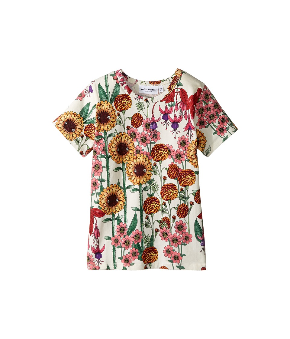 mini rodini - Garden Short Sleeve Tee (Infant/Toddler/Little Kids/Big Kids) (Off-White) Girl's T Shirt