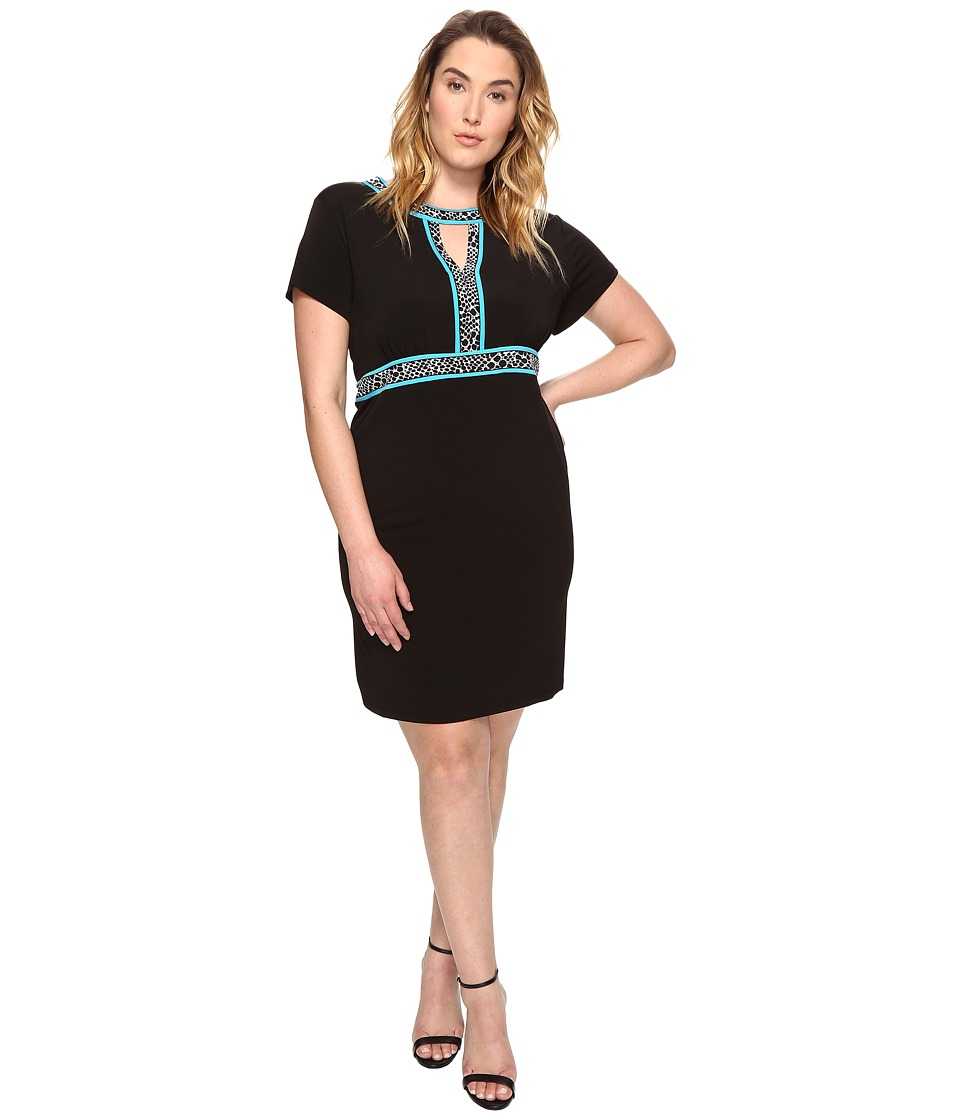 MICHAEL Michael Kors - Plus Size Border Print Combo Dress (Black) Women's Dress