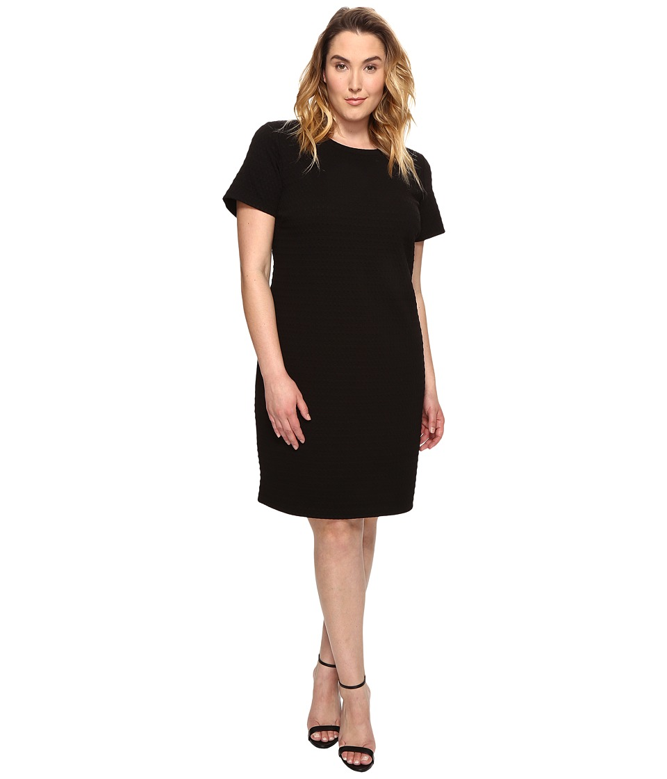 MICHAEL Michael Kors - Plus Size Grid Texture Knit Dress (Black) Women's Dress
