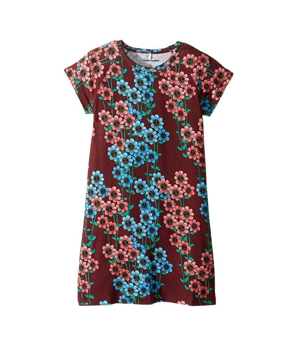 mini rodini - Daisy Short Sleeve Dress (Infant/Toddler/Little Kids/Big Kids) (Burgundy) Girl's Dress