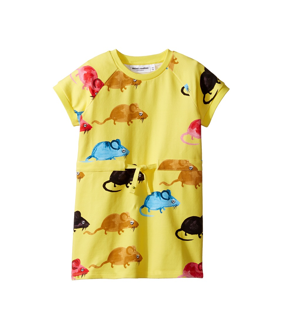 mini rodini - Mouse Sweat Dress (Toddler/Little Kids/Big Kids) (Yellow) Girl's Dress