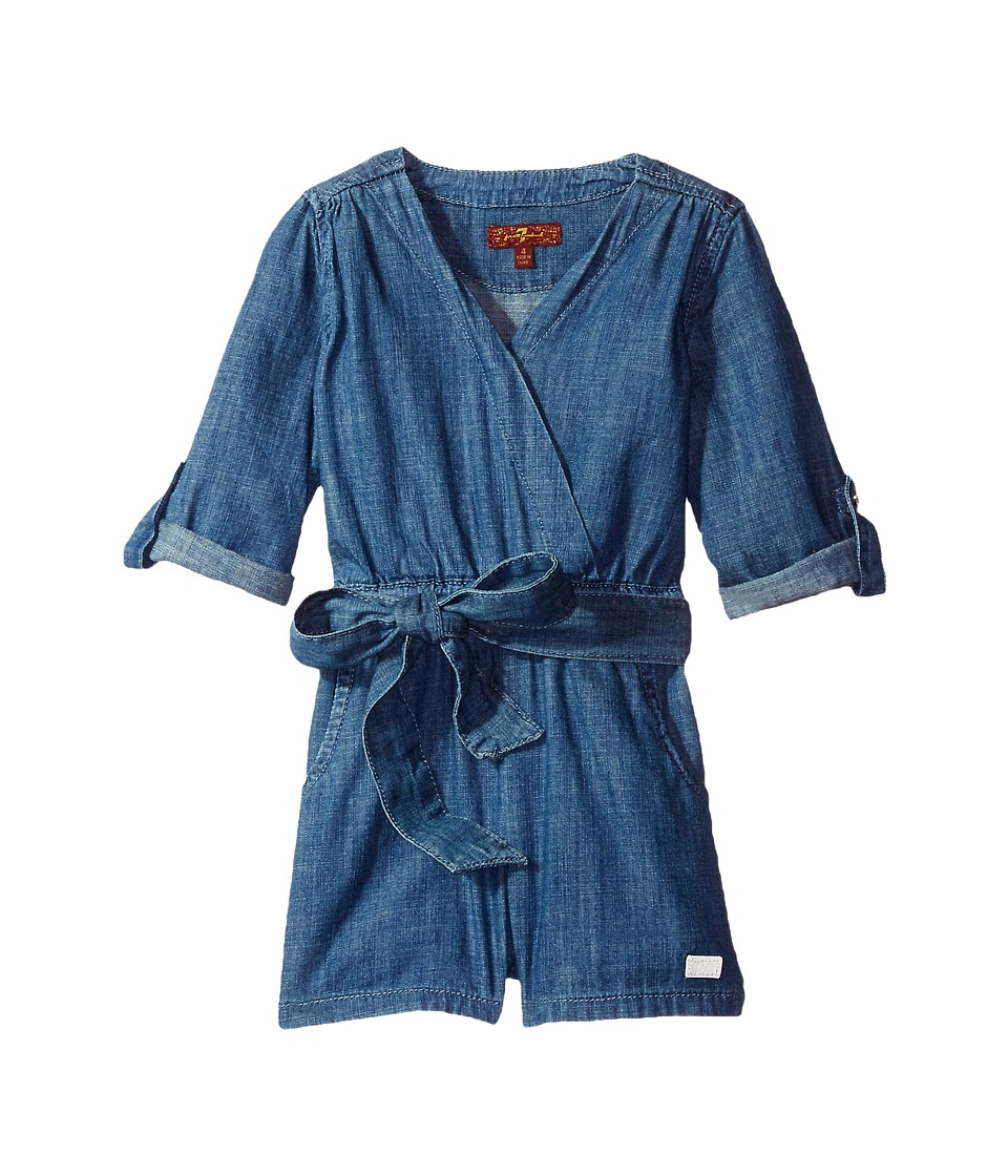 7 For All Mankind Kids - Romper in Beach Blue (Little Kids) (Beach Blue) Girl's Jumpsuit & Rompers One Piece