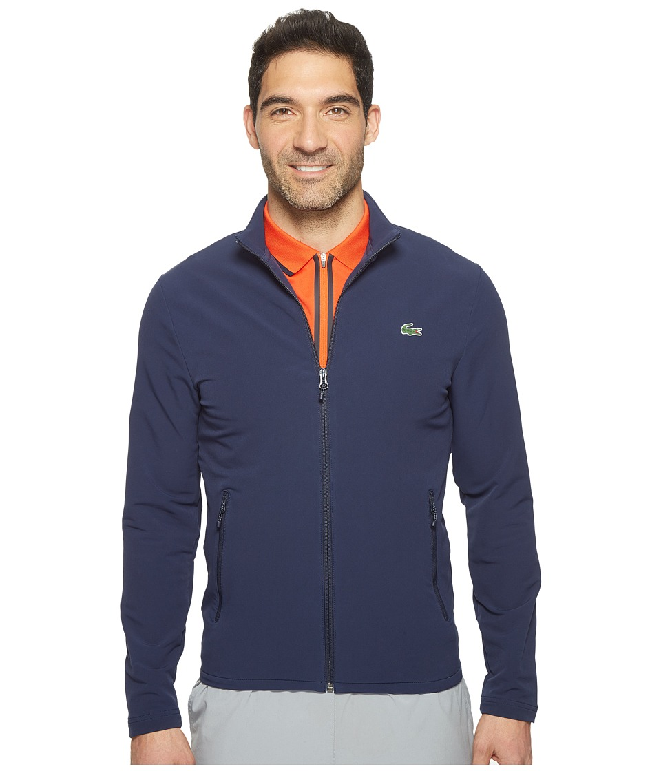 Lacoste - Golf Full Zip Double Face Stretch Twill Sweatshirt (Navy Blue) Men's Sweatshirt