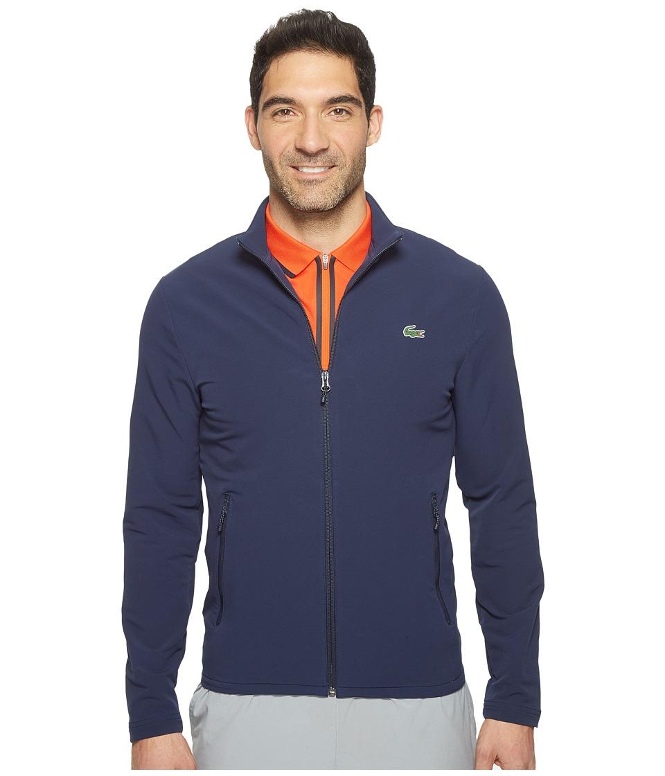 Lacoste - Golf Full Zip Double Face Stretch Twill Sweatshirt (Navy Blue) Men's Sweatshirt