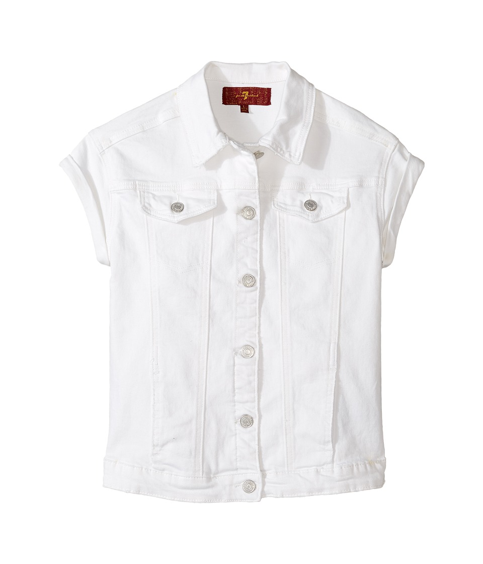 7 For All Mankind Kids - Short Sleeve Denim Jacket (Big Kids) (Clean White) Girl's Coat