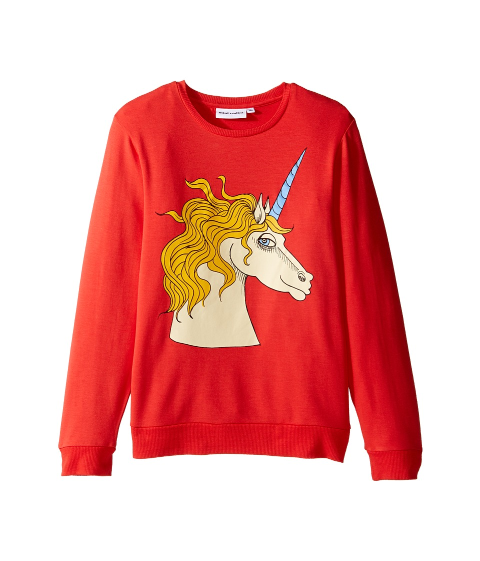 mini rodini - Unicorn Sweatshirt (Infant/Toddler/Little Kids/Big Kids) (Red) Girl's Sweatshirt