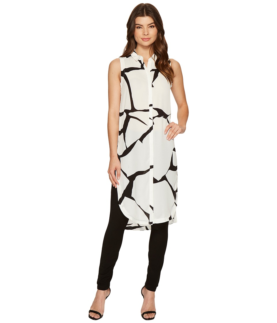 Ivanka Trump - Printed Duster (Ivory/Black) Women's Sleeveless
