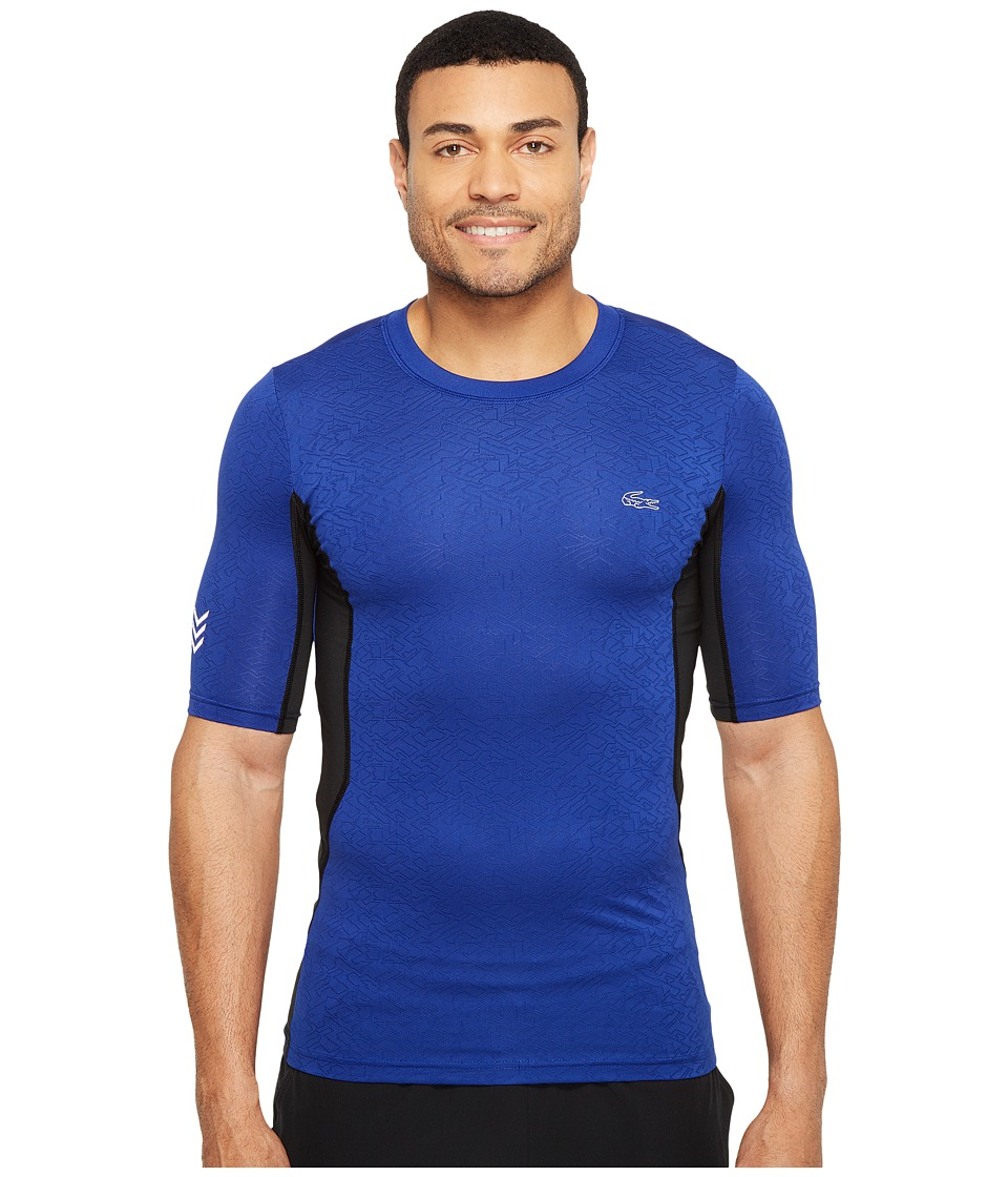 Lacoste Performance Compression Tee (France/Black/Fluo Green) Men