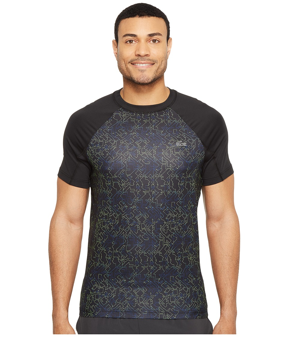 Lacoste - Performance All Over Print Ultra Dry Tee (Black/Fluo Green/France) Men's T Shirt