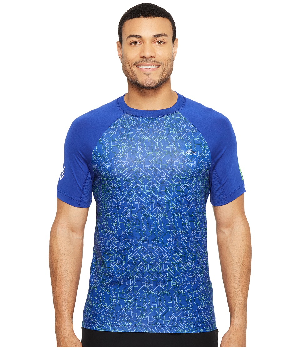 Lacoste - Performance All Over Print Ultra Dry Tee (France/Fluo Green/Black) Men's T Shirt