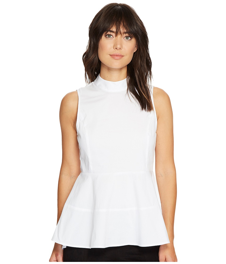 Ivanka Trump - Cotton High-Low Peplum Top (White) Women's Sleeveless