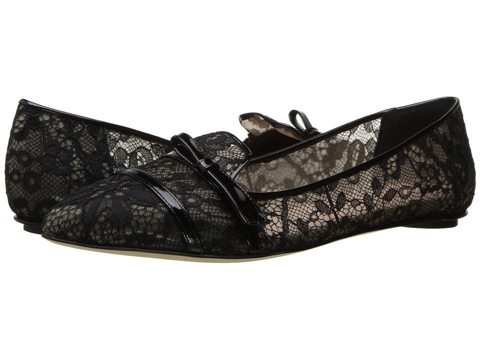 Oscar de la Renta Maisie (Black Lace/Patent Leather) Women