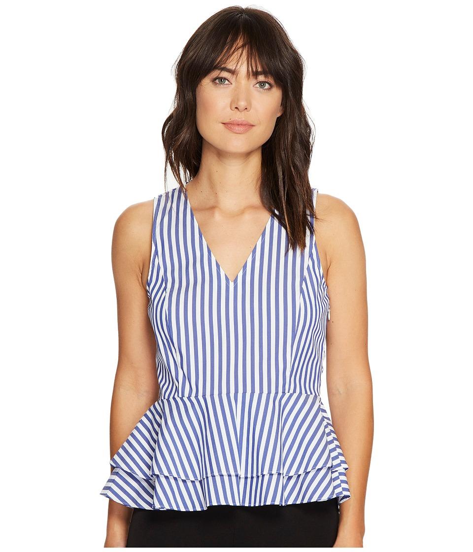 Ivanka Trump - Vertical Striped V-Neck Cotton Peplum (Sea Blue/Ivory) Women's Sleeveless