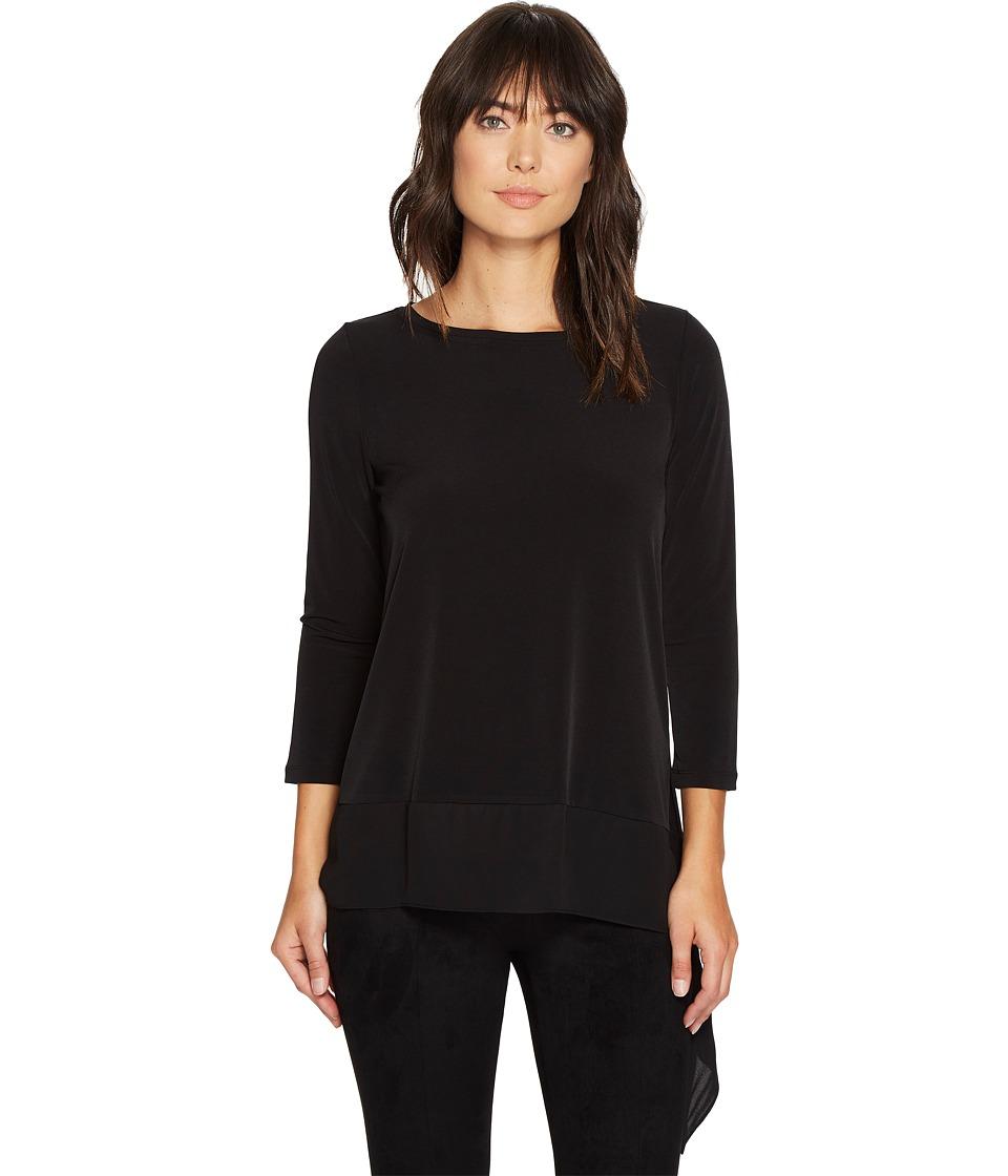 Ivanka Trump - Long Sleeve Matte Jersey with Georgette Hem (Black) Women's Long Sleeve Pullover