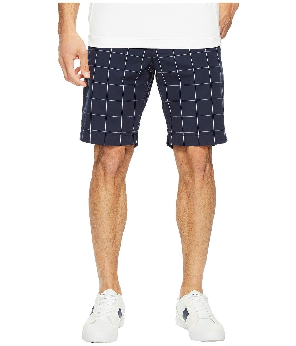 Lacoste - Windowpane Check Bermuda Shorts (Navy Blue/White) Men's Shorts