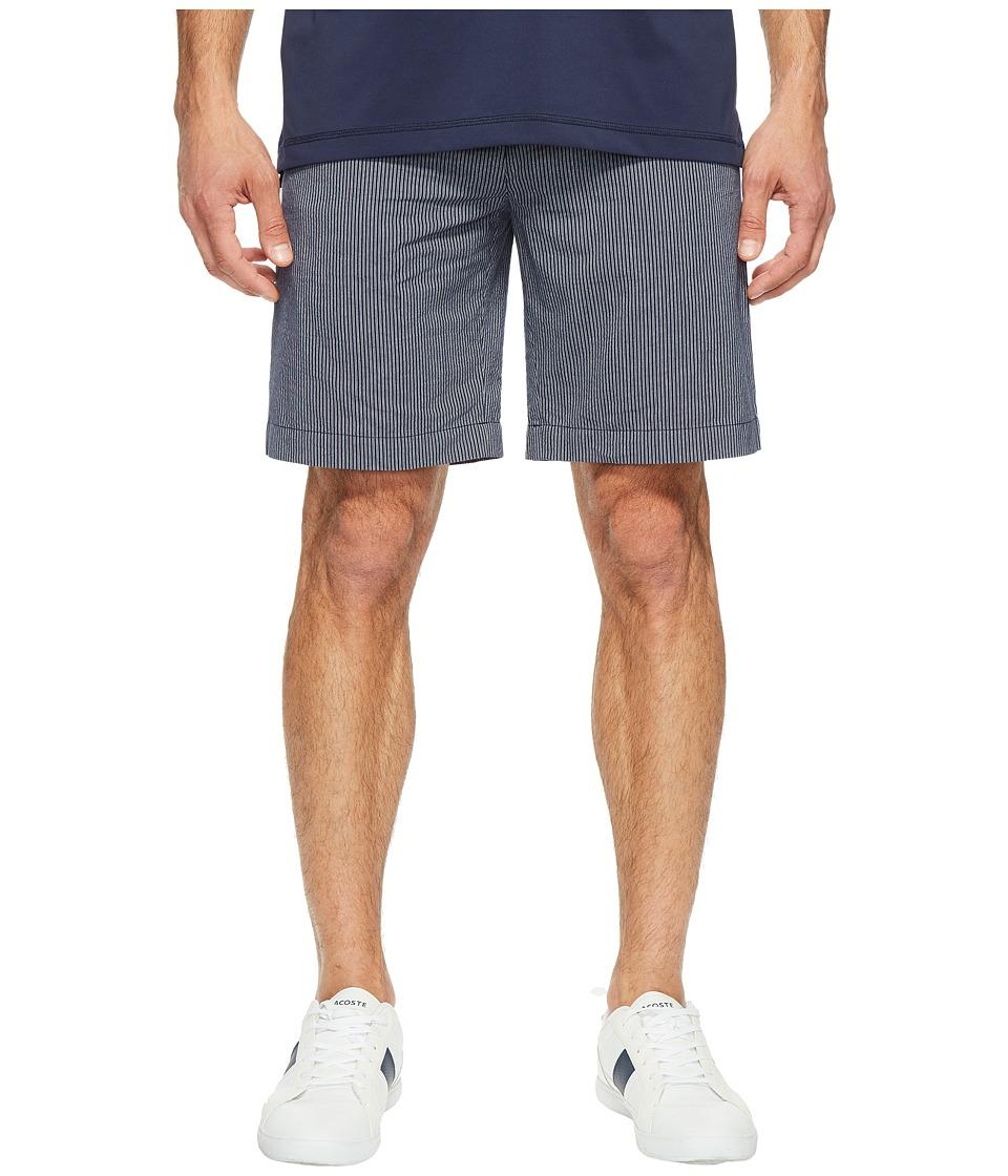 Lacoste - Seersucker Bermuda (Navy Blue/White) Men's Shorts