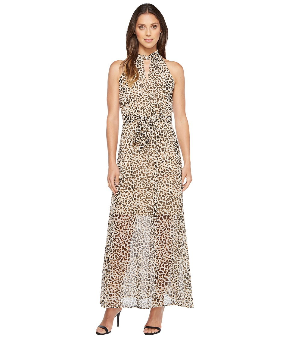 Calvin Klein Printed Maxi with Tie Belt Leopard Dress