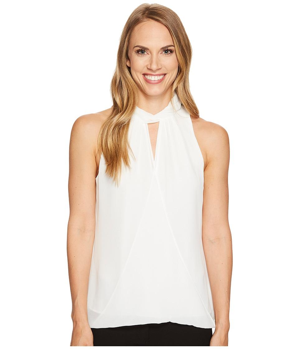 Calvin Klein Sleeveless Wrap Halter Top (Soft White) Women