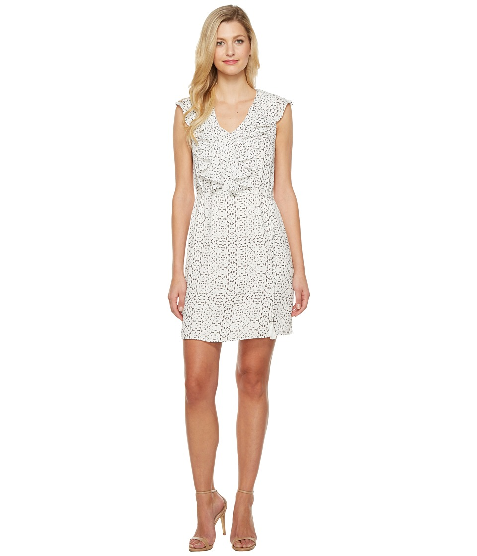 Ivanka Trump - Printed Georgette Dress (Ivory/Black) Women's Dress