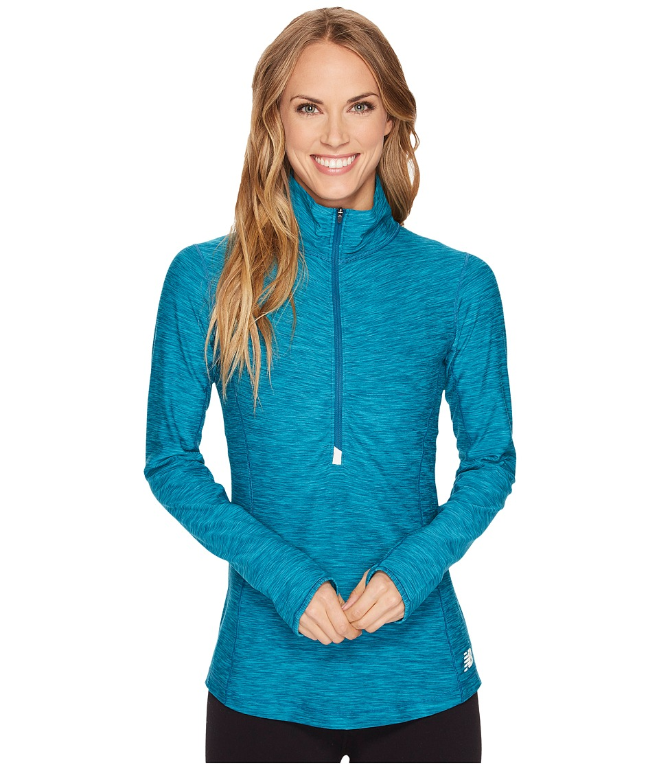New Balance - In Transit 1/2 Zip (Moroccan Blue Heather) Women's Clothing