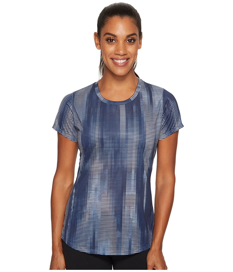 New Balance - Accelerate Short Sleeve Printed (Black Accelerated Stripe) Women's Clothing