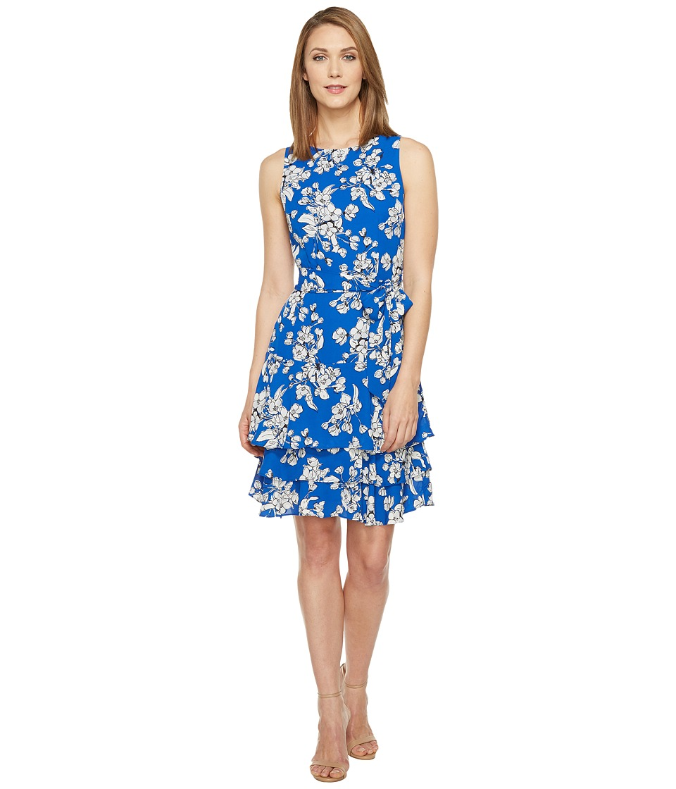 Ivanka Trump - Georgette Double Hem Dress (Sea Blue/Ivory) Women's Dress