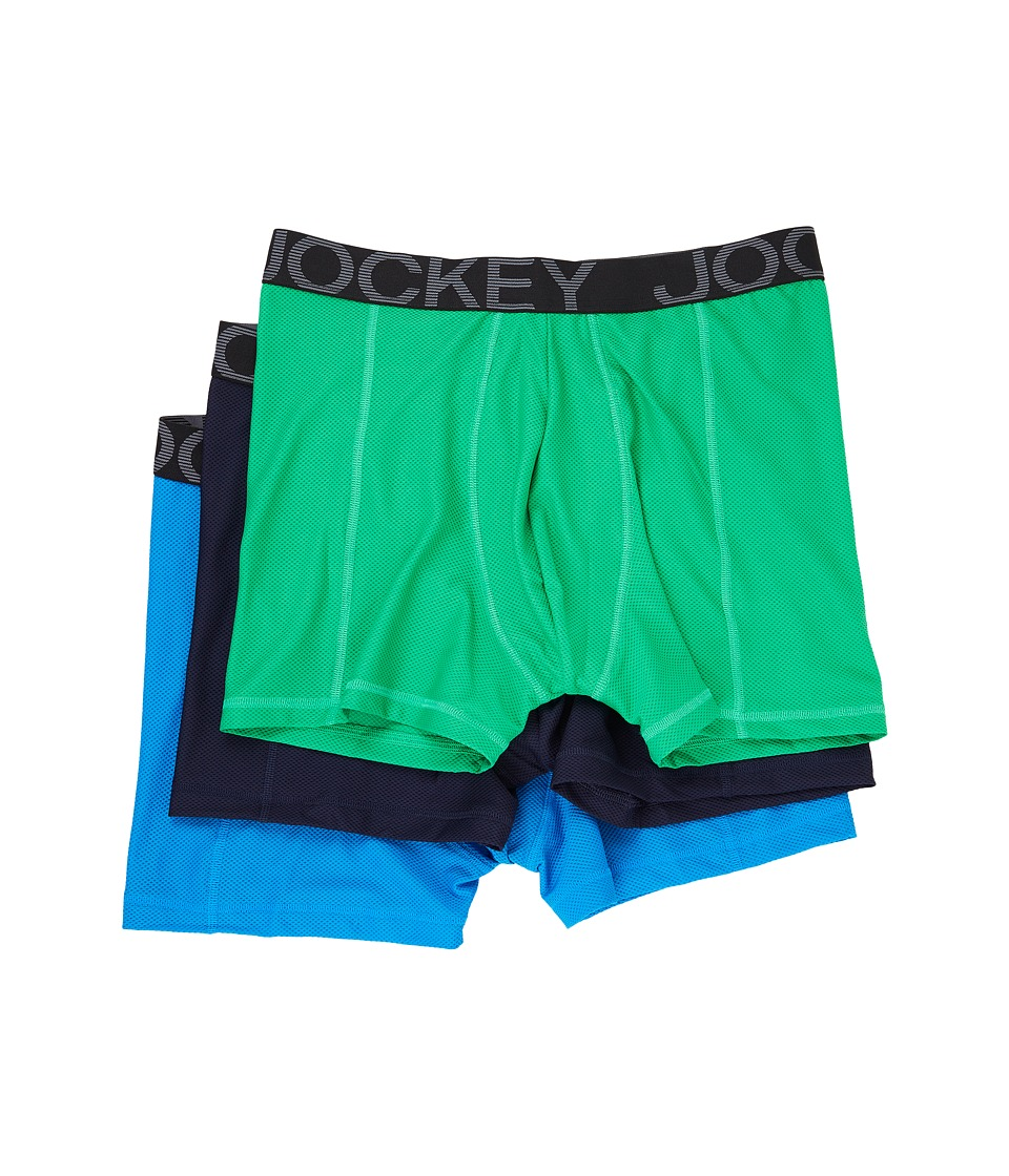 Jockey - Active Mesh Boxer Brief (Shamrock Green/Navy/Blue Curacao) Men's Underwear