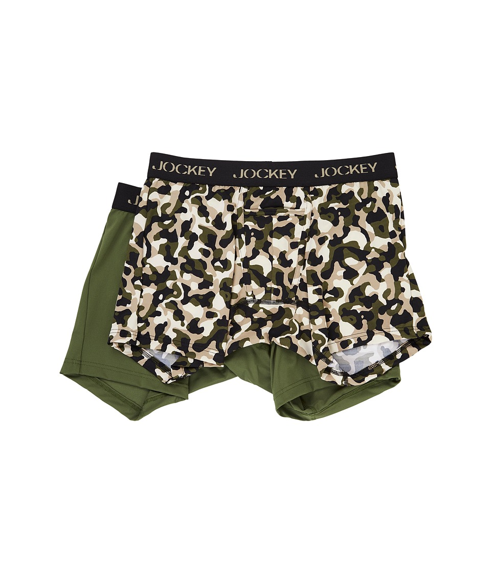 Jockey - Microfiber Performance Boxer Brief 2-Pack (Camo Military/Military Green) Men's Underwear