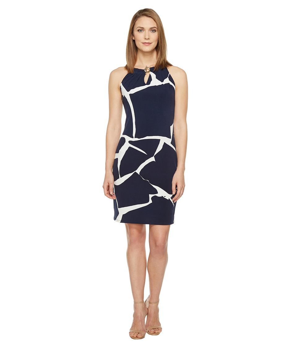 Ivanka Trump - Printed Matte Jersey with Hardware Chain (Navy/Ivory) Women's Dress