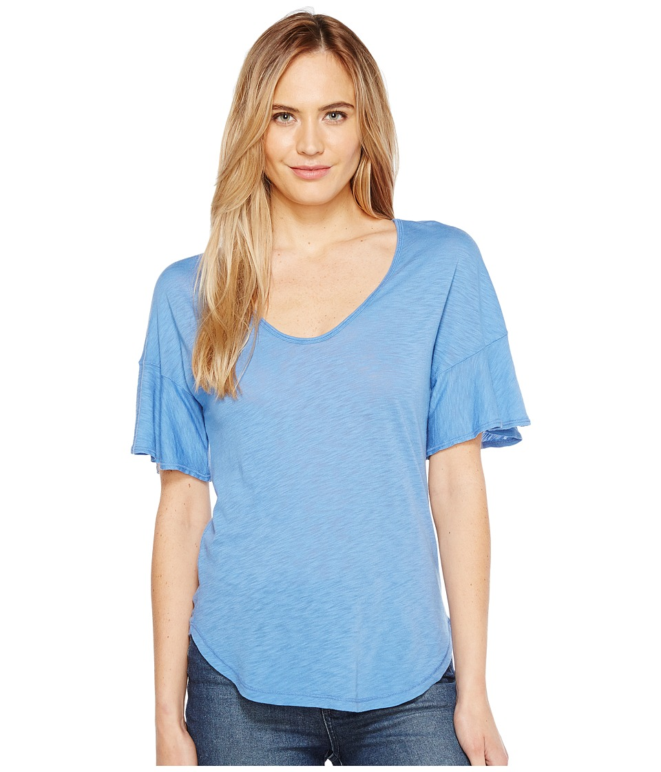 Splendid - V-Neck Flutter Sleeve Top (Heritage Blue) Women's Clothing