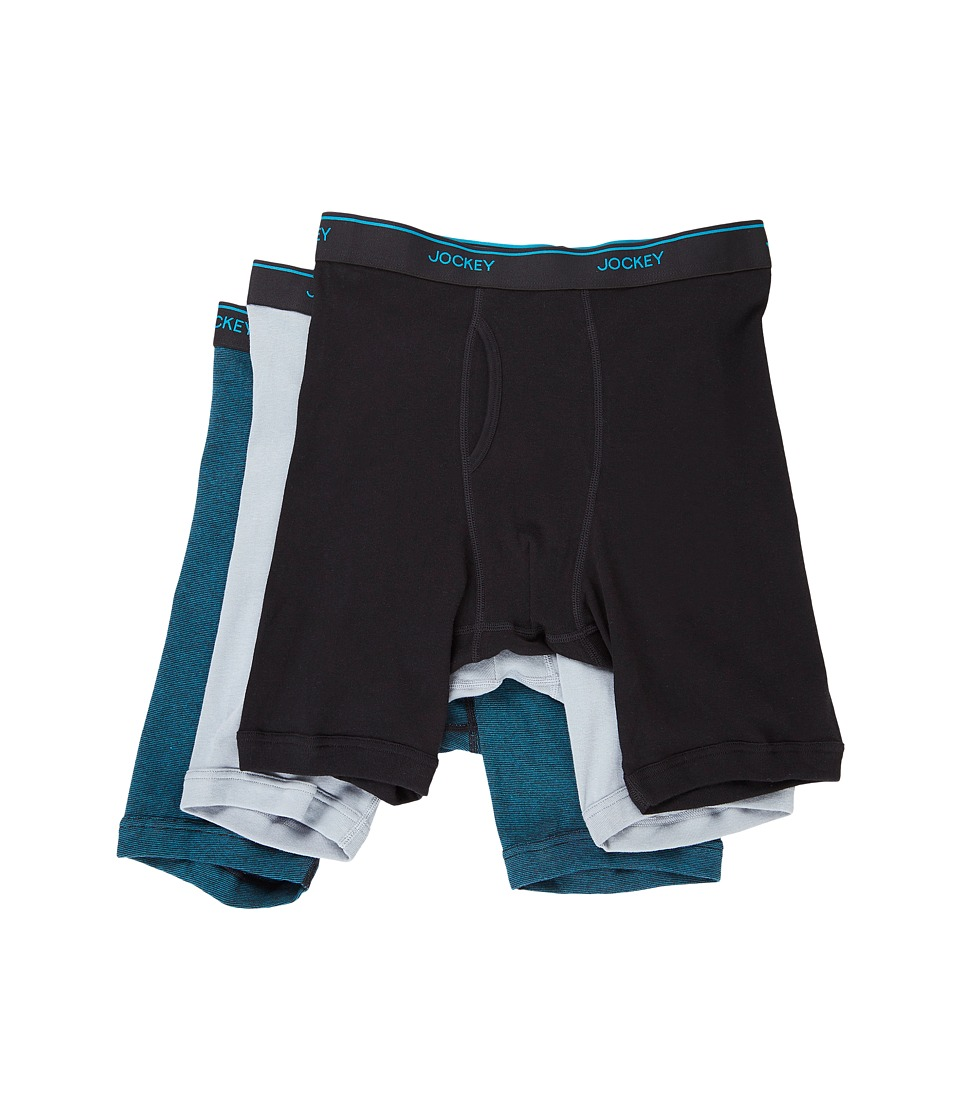 Jockey - Staycool Midway Brief (Black/End on End/Silver Line/Blue) Men's Underwear
