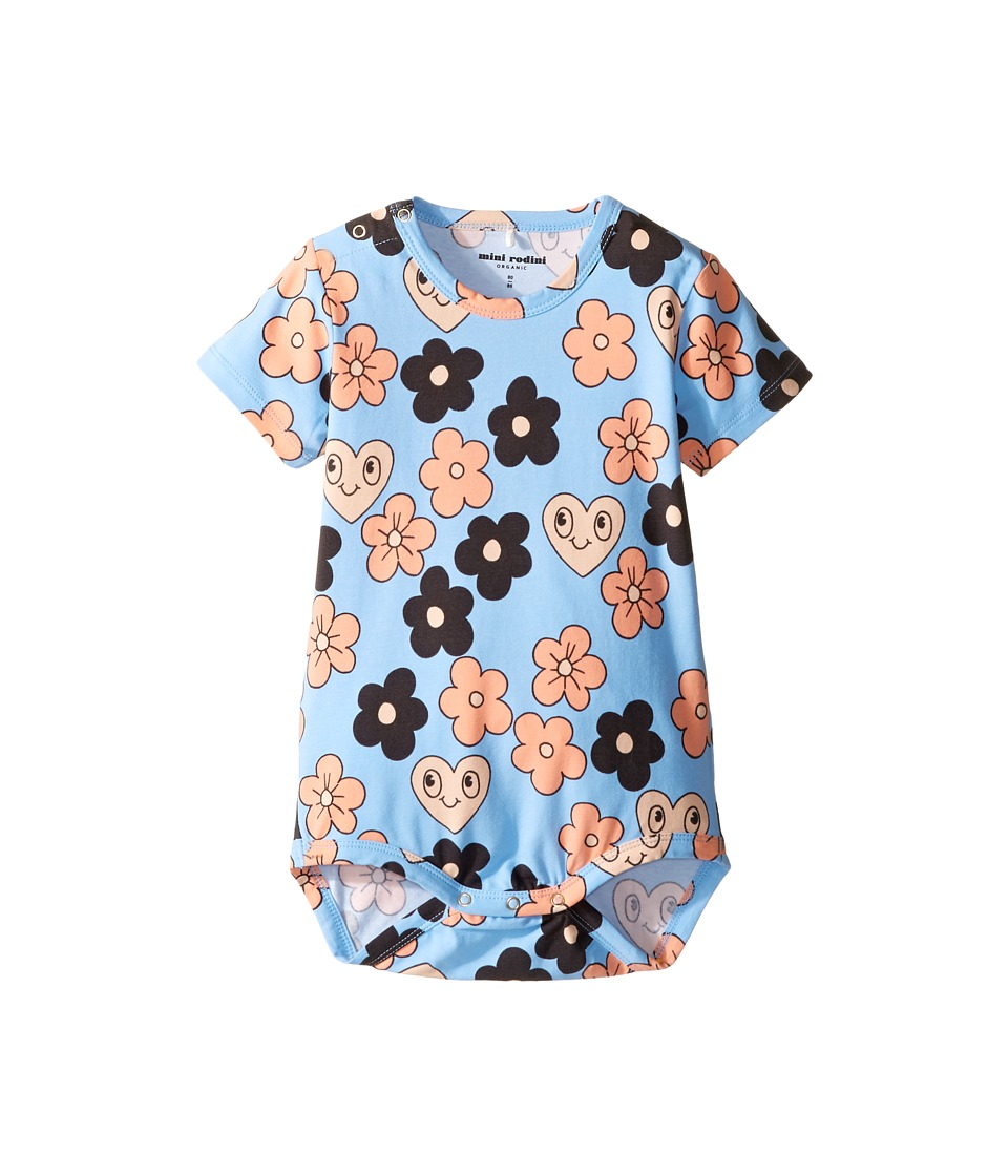 mini rodini - Flowers Short Sleeve Bodysuit (Infant) (Light Blue) Girl's Jumpsuit & Rompers One Piece