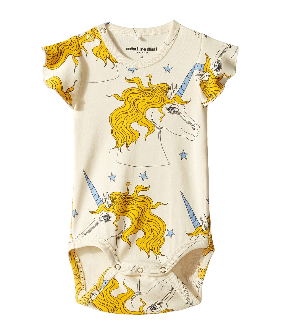 mini rodini - Unicorn Star Wing Bodysuit (Infant) (Off-White) Girl's Jumpsuit & Rompers One Piece