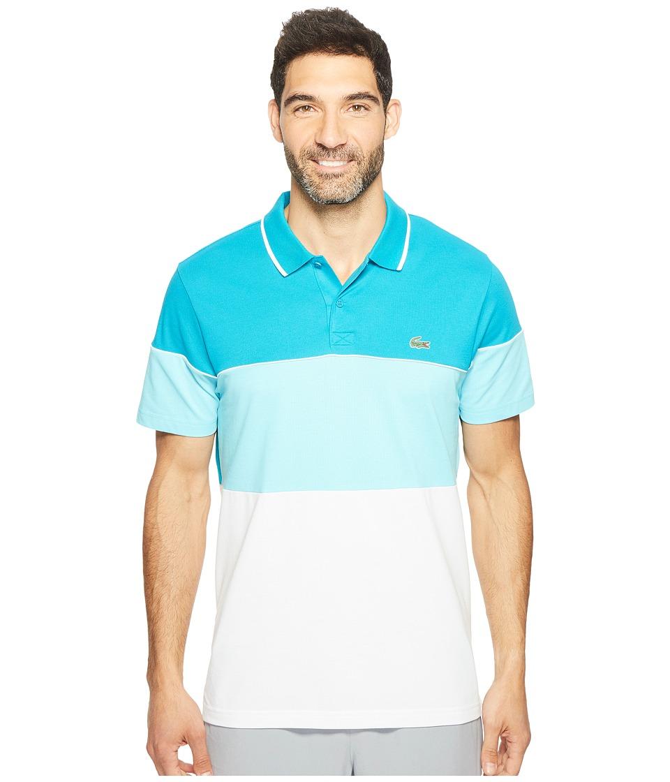 Lacoste - Golf Color Block Stripe Ultra Dry Pique Knit (Oceanie/Haiti Blue/White) Men's Clothing